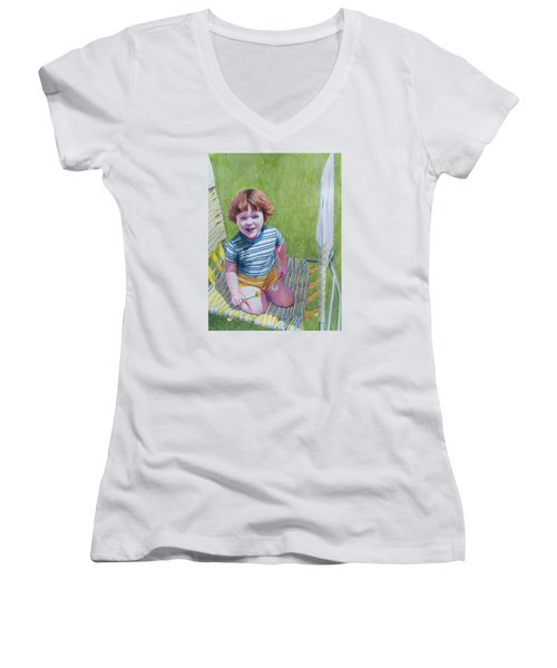 Dandelion Girl Women's V-Neck T-Shirt (Junior Cut)