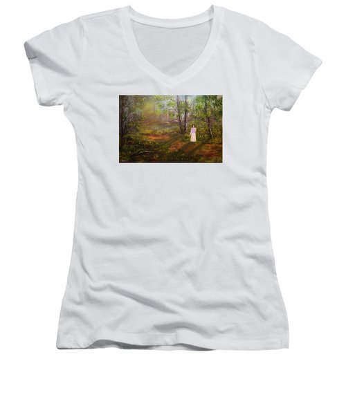 Dandelion In The Breez Women's V-Neck (Athletic Fit)