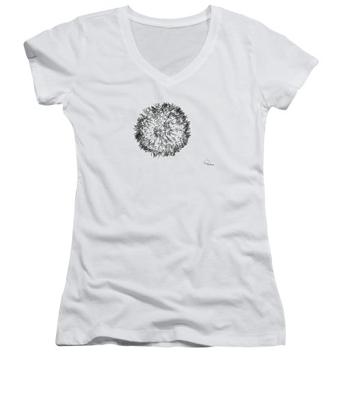 Dandelion Women's V-Neck T-Shirt (Junior Cut) by Ludwig Keck