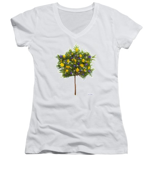 Women's V-Neck T-Shirt (Junior Cut) featuring the photograph Dandelion Violet Tree by Lise Winne