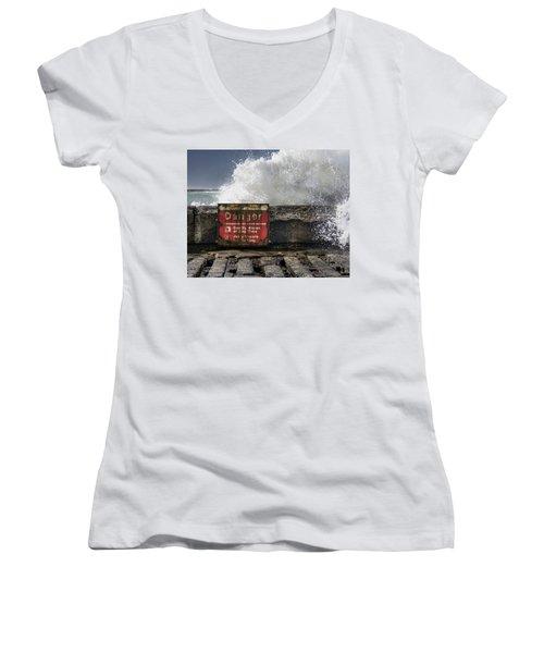 Danger Women's V-Neck T-Shirt (Junior Cut) by Greg Nyquist