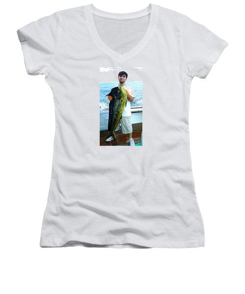 Danny Caught A Huge Dolphin Fish Women's V-Neck T-Shirt (Junior Cut) by Merton Allen