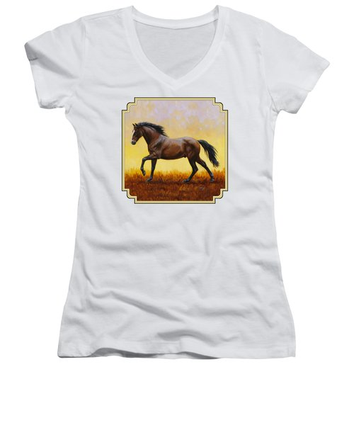 Dark Bay Running Horse Yellow Women's V-Neck (Athletic Fit)