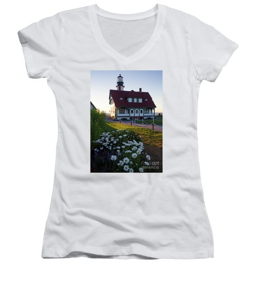 Dawn At Portland Head Light, Cape Elizabeth, Maine  -08614 Women's V-Neck
