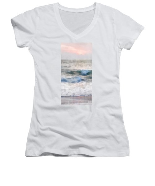 Women's V-Neck T-Shirt (Junior Cut) featuring the digital art Dawn Beach by Francesa Miller