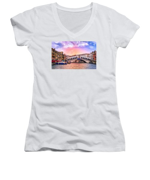 Dawn Light At Rialto Bridge Women's V-Neck