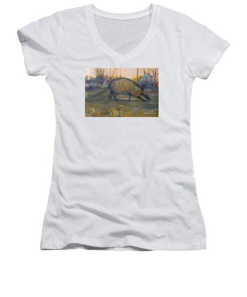 Dawn Run Women's V-Neck T-Shirt (Junior Cut) by Donald Maier