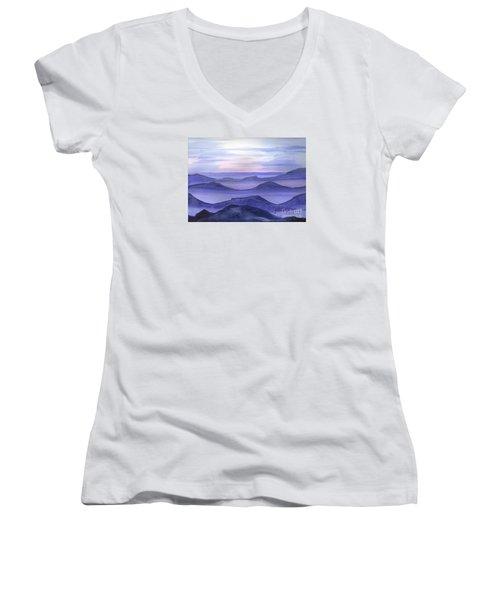 Women's V-Neck T-Shirt (Junior Cut) featuring the painting Day Break by Yolanda Koh
