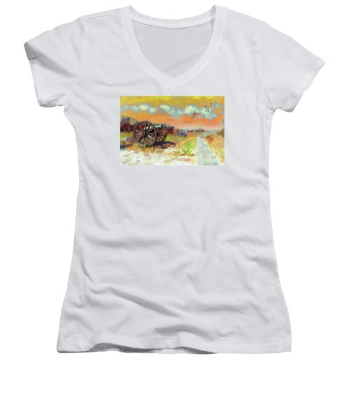 Women's V-Neck T-Shirt (Junior Cut) featuring the photograph Days Of Discontent by Lois Bryan