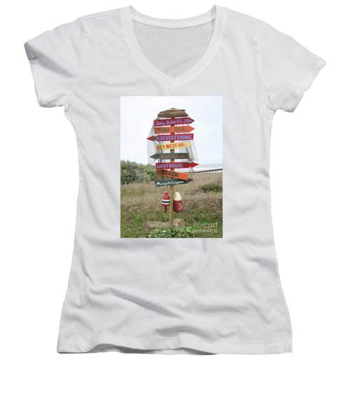 Women's V-Neck T-Shirt (Junior Cut) featuring the photograph Daytona Crossroads by Dodie Ulery