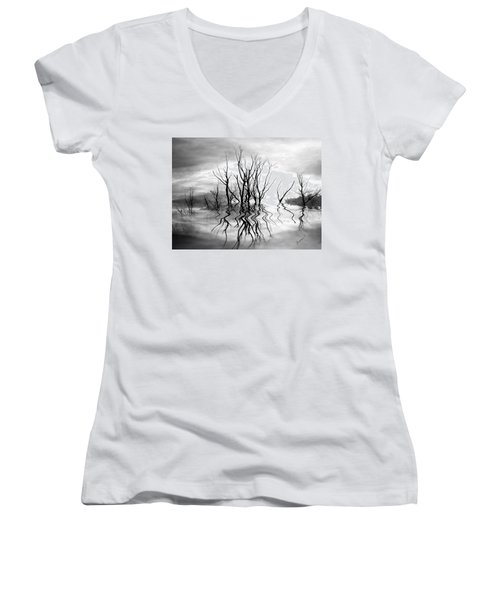 Women's V-Neck T-Shirt (Junior Cut) featuring the photograph Dead Trees Bw by Susan Kinney