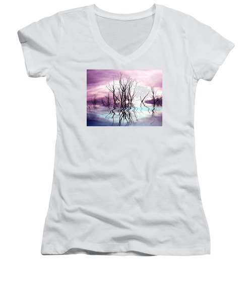 Women's V-Neck T-Shirt (Junior Cut) featuring the photograph Dead Trees Colored Version by Susan Kinney