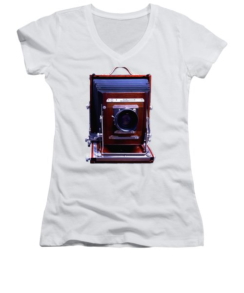 Deardorff 8x10 View Camera Women's V-Neck T-Shirt (Junior Cut) by Joseph Mosley