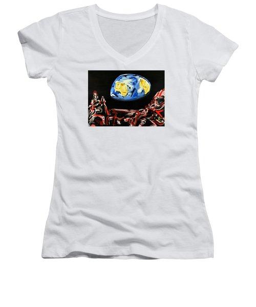 Death By Starlight Women's V-Neck T-Shirt (Junior Cut) by Ryan Demaree