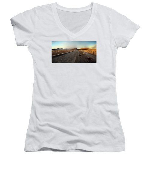 Death Valley Hitch Hiker Women's V-Neck T-Shirt (Junior Cut) by Gary Warnimont