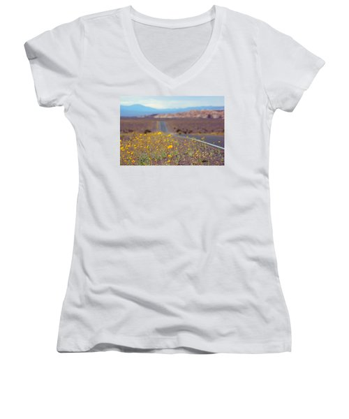 Women's V-Neck T-Shirt (Junior Cut) featuring the photograph Death Valley Superbloom 101 by Daniel Woodrum