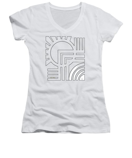 Deco Design White Women's V-Neck (Athletic Fit)