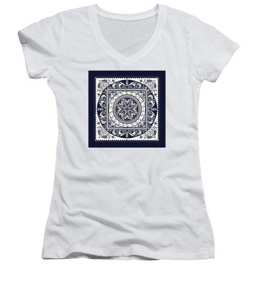 Deep Blue Classic Mandala Women's V-Neck T-Shirt (Junior Cut) by Deborah Smith