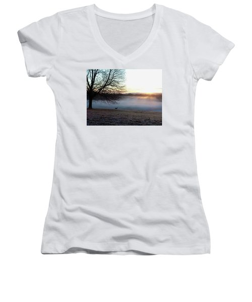 Deer At Dawn Women's V-Neck T-Shirt