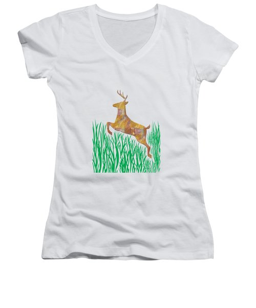 Deer In Grass Women's V-Neck T-Shirt