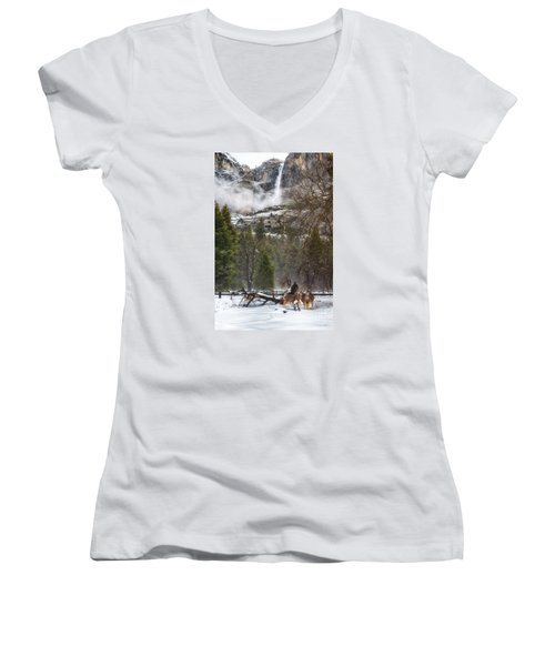 Deer Of Winter Women's V-Neck (Athletic Fit)