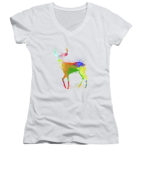 Deer Watercolor 1 Women's V-Neck T-Shirt
