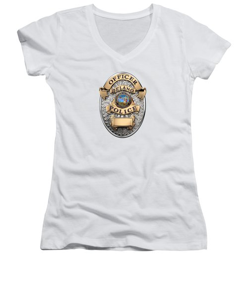 Women's V-Neck T-Shirt (Junior Cut) featuring the digital art Delano Police Department - Officer Badge Over White Leather by Serge Averbukh