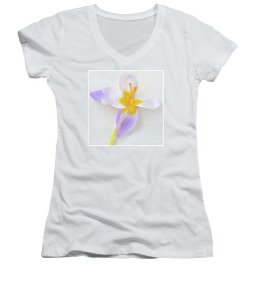 Women's V-Neck T-Shirt (Junior Cut) featuring the photograph Delicate Art Of Crocus by Terence Davis