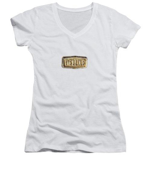 Deluxe Chrome Emblem Women's V-Neck T-Shirt (Junior Cut) by YoPedro