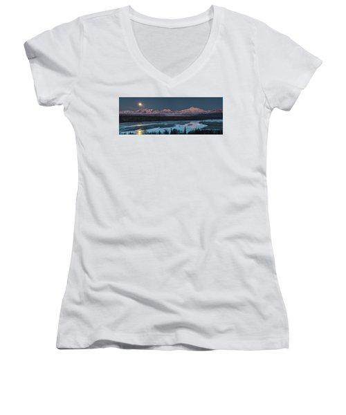 Denali Morning Blue Women's V-Neck T-Shirt