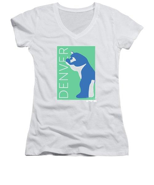 Denver Blue Bear/aqua Women's V-Neck