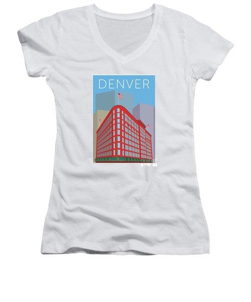 Denver Brown Palace/blue Women's V-Neck