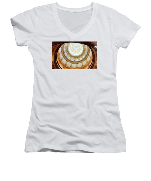 Women's V-Neck T-Shirt (Junior Cut) featuring the photograph Denver Capitol Dome 1 by Marilyn Hunt