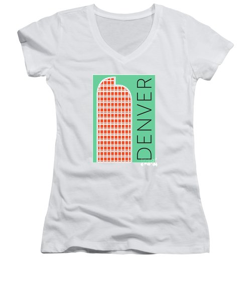 Denver Cash Register Bldg/aqua Women's V-Neck (Athletic Fit)