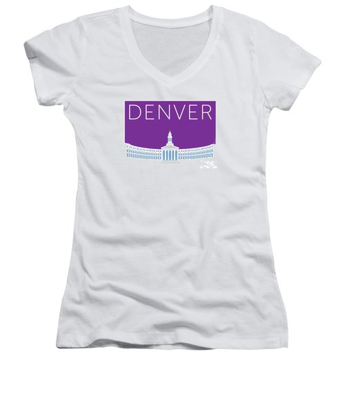 Denver City And County Bldg/purple Women's V-Neck (Athletic Fit)