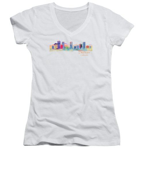 Denver Colorado Skyline Tshirts And Accessories Women's V-Neck (Athletic Fit)