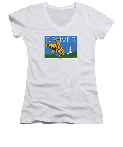 Denver Cowboy/dark Blue Women's V-Neck (Athletic Fit)