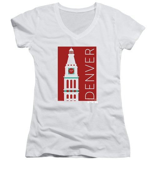 Denver D And F Tower/maroon Women's V-Neck (Athletic Fit)
