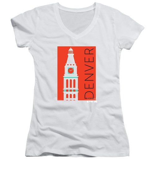 Denver D And F Tower/orange Women's V-Neck (Athletic Fit)