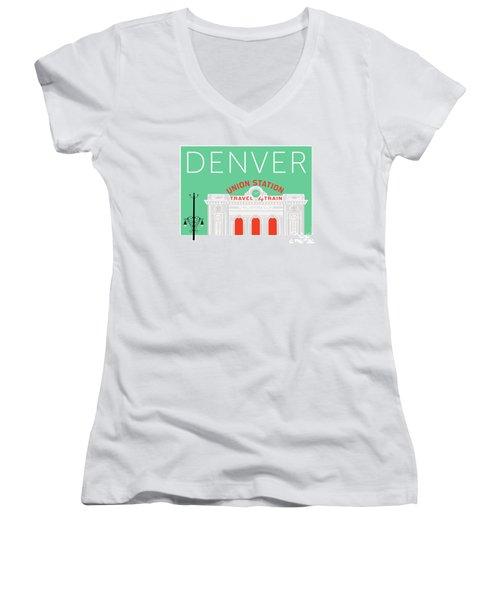 Denver Union Station/aqua Women's V-Neck