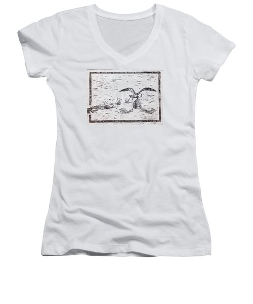 Departure Woodcut  Women's V-Neck T-Shirt (Junior Cut) by Stan Tenney