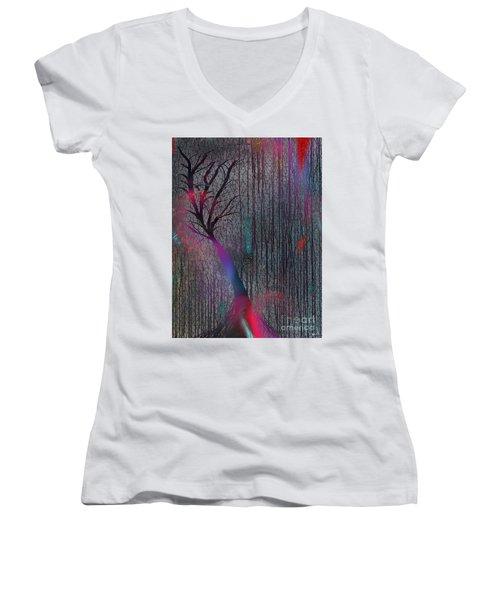 Depth Of Dreams Women's V-Neck T-Shirt (Junior Cut) by Yul Olaivar