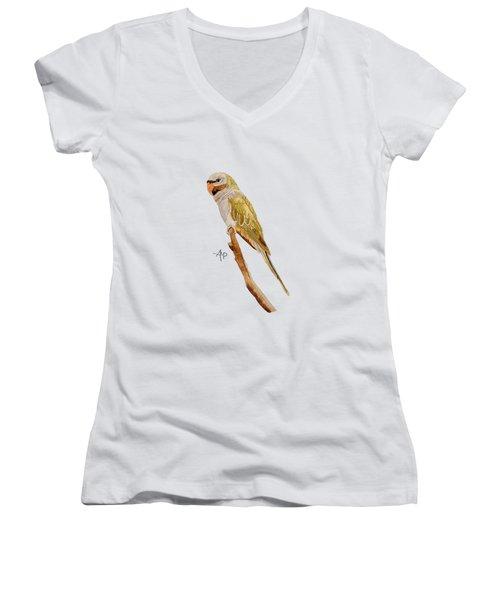 Derbyan Parakeet Women's V-Neck T-Shirt (Junior Cut) by Angeles M Pomata