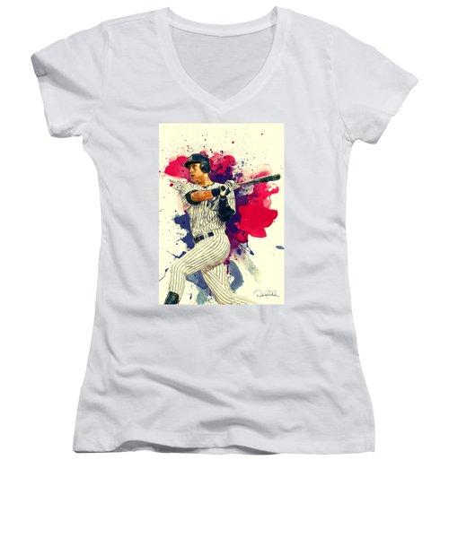 Derek Jeter Women's V-Neck T-Shirt (Junior Cut) by Taylan Apukovska