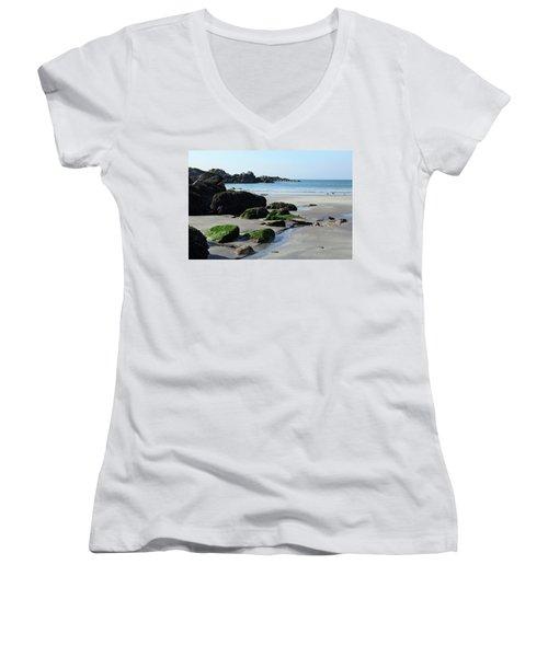 Derrynane Beach Women's V-Neck T-Shirt (Junior Cut) by Marie Leslie