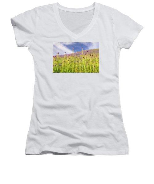 Desert Candles At Carrizo Plain Women's V-Neck T-Shirt (Junior Cut) by Marc Crumpler