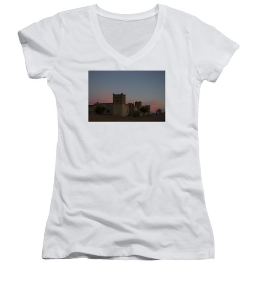 Women's V-Neck T-Shirt (Junior Cut) featuring the tapestry - textile Desert Kasbah Morocco 2 by Kathy Adams Clark
