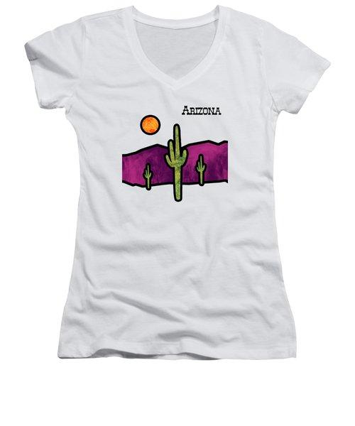 Desert Stained Glass Women's V-Neck T-Shirt (Junior Cut) by Methune Hively