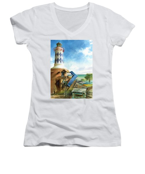 Women's V-Neck featuring the painting Destin Lighthouse by Andrew King