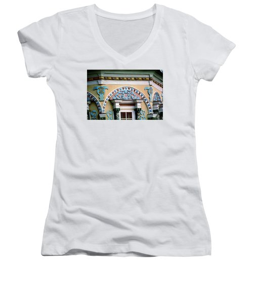 Detail Of Trinity Lavra Of St. Sergius Monastery Sergiev Posad Women's V-Neck T-Shirt (Junior Cut) by Wernher Krutein